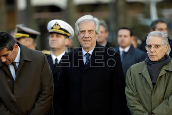 The President of Uruguay, Tabare Vazquez (C), joined by national and departmental officials, heads a tribute to national hero Jose Artigas, in Montevideo, Uruguay, June 19, 2017. EFE/Raul Martinez