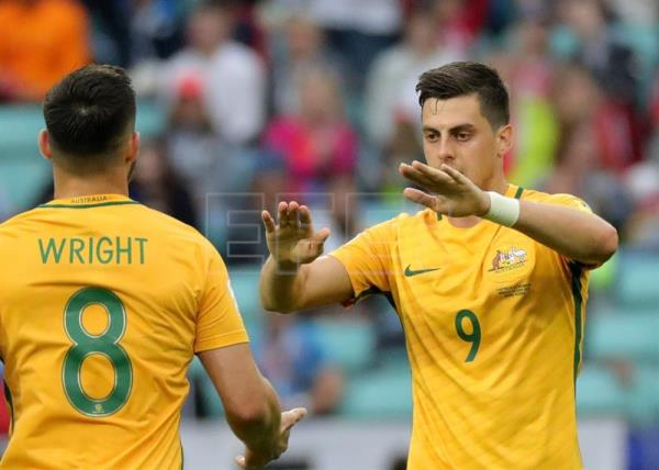 A photo shows Tomi Juric (R) of Australia celebrates scoring his teams second score during the FIFA Confederations Cup 2017 group B soccer match between Australia and Germany at the Fisht Stadium in Sochi, Russia, on June 19, 2017. EPA/ARMANDO BABANI
