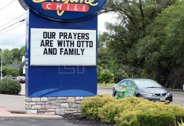 File photo showing a restaurant showing its support for Otto Warmbier in Wyoming, Ohio near Cincinnati, USA, on 15 June 2017. EPA/MARK LYONS