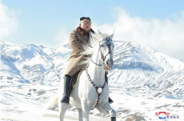 Pyongyang publishes dramatic photos of Kim riding horse on sacred mountain