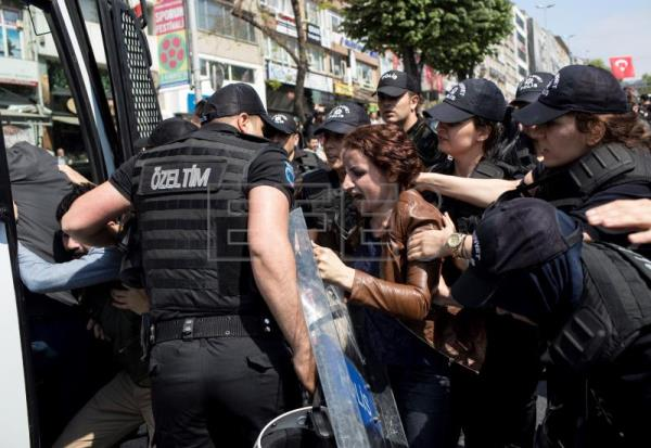 Riot police clash with May Day protesters in Istanbul during banned march
