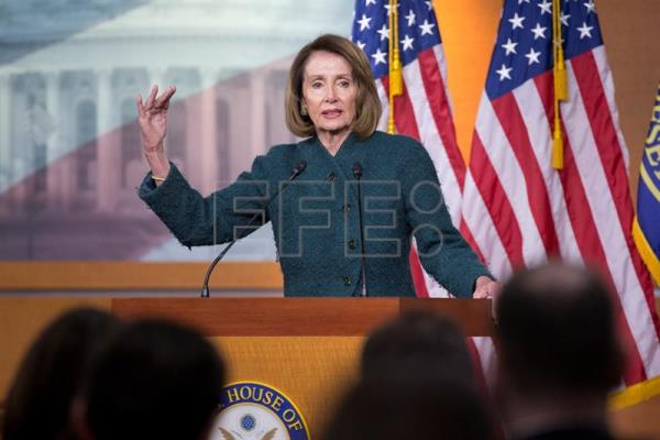 The speaker of the US House of Representatives, Democrat Nancy Pelosi, holds a press conference at the Capitol in Washington on Thursday, Jan. 10. EFE-EPA/Michael Reynolds