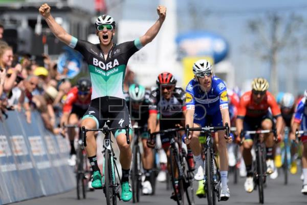 German rider Pascal Ackermann of team Bora-Hansgrohe celebrates winning the  fifth and last stage 6209eef30