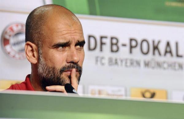 Bayern Munich coach Pep Guardiola, during a press conference at Olympia stadium in Berlin, Germany on May 20, 2016. EFE