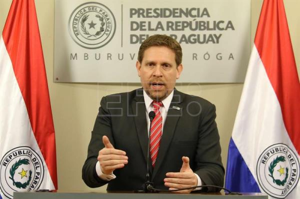 President of Petropar Paraguay delivers a presser at Mburuvicha Roga Presidential Residence in Asuncion, Paraguay, 2 August 2016. EFE/Andres Ctristaldo Benitez