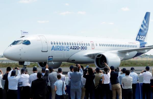 A new Airbus A220-300 aircraft during the presentation of the new Airbus A220-300 Single-Aisle aircraft at the Airbus's delivery center in Colomiers, near Toulouse, France, July 10, 2018. After taking the control of Bombardier aircraft manufacturer on June 2018, the CSeries program CS 100 and CS 300 becomes the new Airbus A220-300 Single-Aisle aircraft. EFE-EPA/GUILLAUME HORCAJUELO
