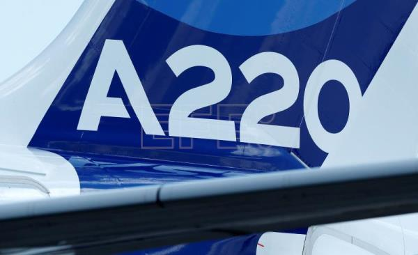 The tail rudder of a new Airbus A220-300 aircraft during the presentation of the new Airbus A220-300 Single-Aisle aircraft at the Airbus's delivery center in Colomiers, near Toulouse, France, July 10, 2018. After taking the control of Bombardier aircraft manufacturer on June 2018, the CSeries program CS 100 and CS 300 becomes the new Airbus A220-300 Single-Aisle aircraft. EFE-EPA/GUILLAUME HORCAJUELO