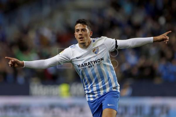 A file photo shows Pablo Fornals former Malaga player celebrating his goal against Betis in a La Liga match at the La Rosaleda stadium Malaga, Spain, Feb 28, 2017. EFE/Jorge Zapata