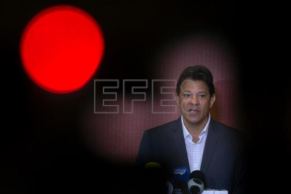 Brazil's Workers Party (PT) candidate Fernando Haddad speaks during a press conference in Brasilia, Brazil, Oct. 11, 2018. EPA-EFE/Joedson Alves