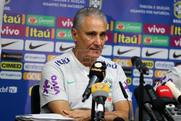 Head coach Tite of Brazil attends a press conference in Riyadh, Saudi Arabia, Oct. 11, 2018. EPA-EFE/Ahmed Yosri