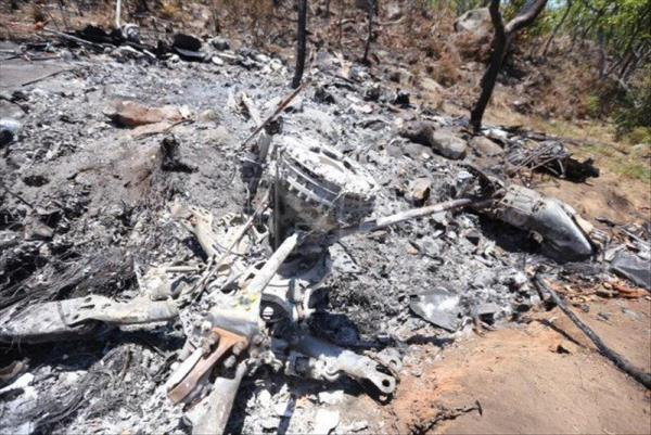 A photo dated May 5 that shows the wreckage of a Mexican military helicopter that suspected drug-cartel members brought down four days earlier in the western state of Jalisco using a rocket-propelled grenade. EFE