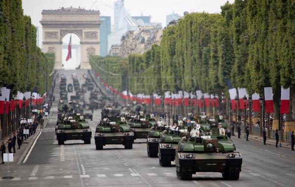 Traditional Bastille Day military parade in Paris