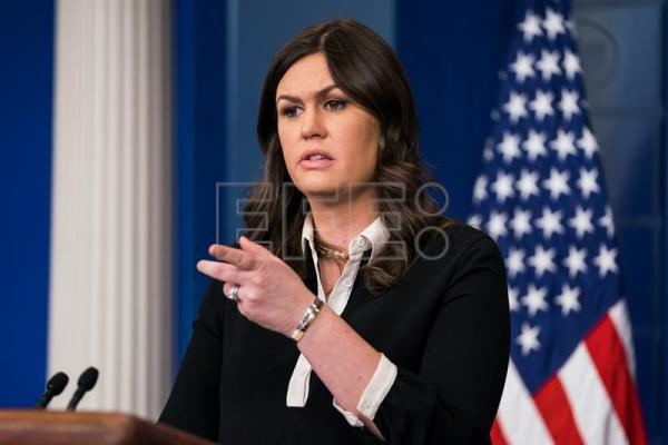 White House Press Secretary Sarah Huckabee Sanders briefs the media, including about the president's controversial fake news awards, from the White House Briefing Room in Washington, DC, USA, Jan. 17, 2018. EPA-EFE/JIM LO SCALZO