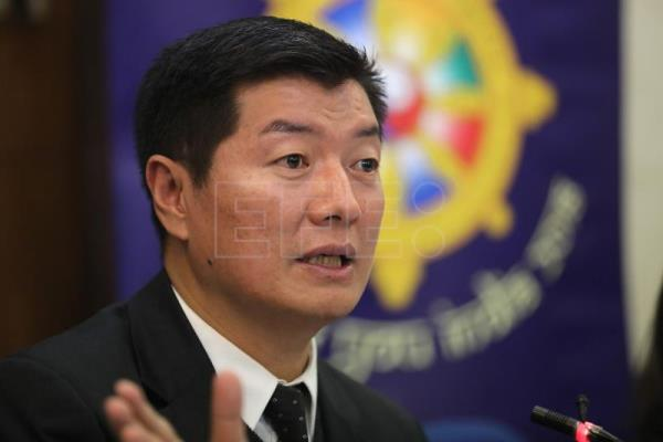 Lobsang Sangay, President of the Central Tibetan Administration a Tibetan exile organisation also known as the Tibetan Government-in-Exile, speaks during a press conference in New Delhi, India, Jan. 18, 2018. EPA-EFE/HARISH TYAGI