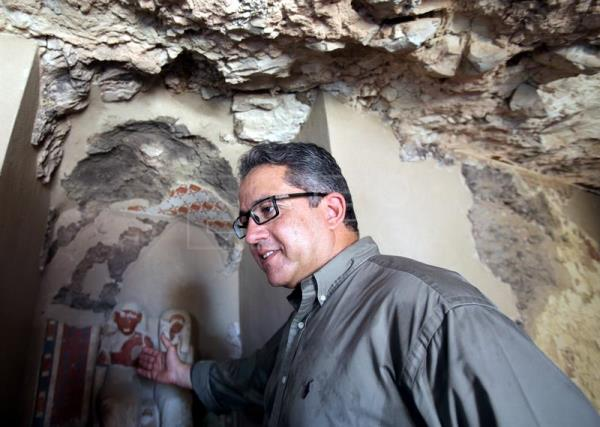 Egyptian Minister of Antiquities Khaled El-Enany talks to reporters at a recently discovered tomb in the Draa Abul Nagaa necropolis, Luxor's West Bank, 700km south of Cairo, Egypt, Sept. 9, 2017. EFE-EPA/KHALED ELFIQI