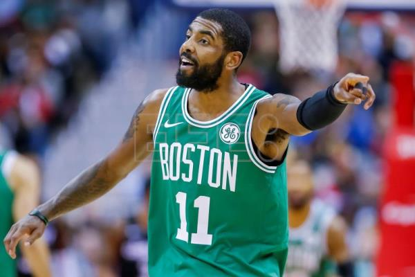 Boston Celtics guard Kyrie Irving reacts during the second half of the NBA basketball game between the Boston Celtics and the Washington Wizards at Capital One Arena in Washington, DC, USA, Dec 12 2018. EPA-EFE/ERIK S. LESSER SHUTTERSTOCK OUT
