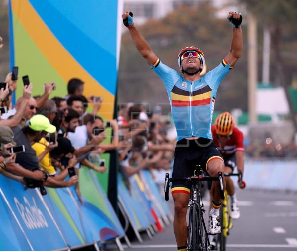Greg van Avermaet of Belgium celebrates winning the men s Road Cycling race  of the Rio 2016 498ba35ba