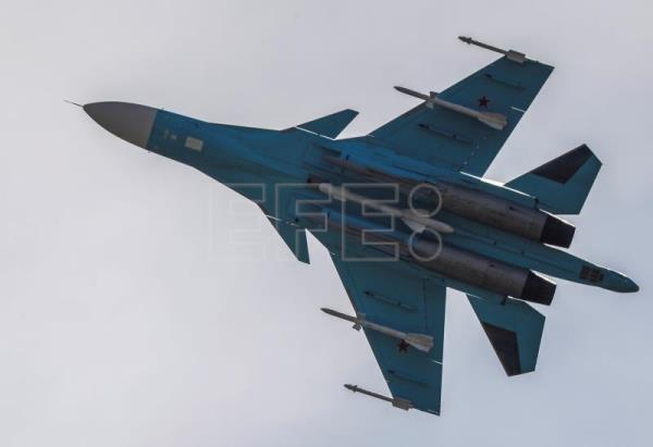 A Russian Sukhoi Su-34 Strike Fighter performs during an air show at the Moscow International Aviation and Space Salon MAKS-2017 in the city of Zhukovsky, outside Moscow, Jul. 20, 2017. EPA-EFE FILE/SERGEI ILNITSKY
