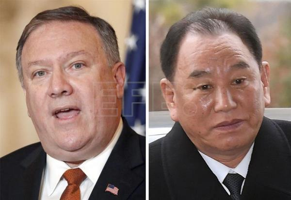 A combined file photo shows US Secretary of State Mike Pompeo (L) and Kim Yong-chol (R), vice chairman of the central commmittee of North Korea's ruling Workers' Party. According EPA-EFE/YONHAP/FILE SOUTH KOREA OUT