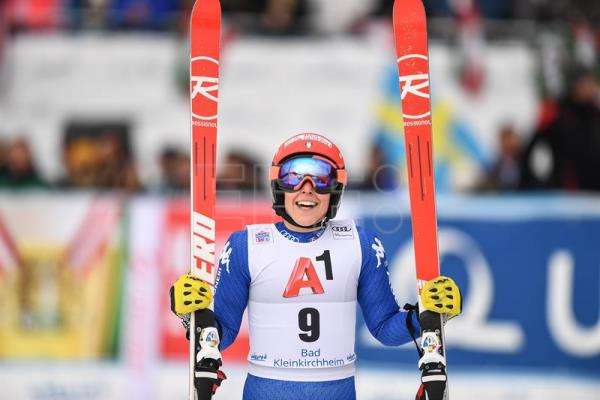 Federica Brignone of Italy reacts in the finish area after Women's Super-G race of the FIS Alpine Ski World Cup in Bad Kleinkirchheim, Austria. EFE/EPA