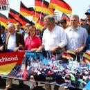 Georg Pazderski (2-L), Chairman of Berlin section of German right-wing 'Alternative for Germany' (AfD) party, AfD co-leader Alexander Gauland (4-L), Beatrix von Storch of AfD (4-R) and AfD co-leader Joerg Meuthen (3-R) take part in a march of the 'Alternative for Germany' (AfD) party in Berlin, Germany, May 27, 2018. EFE-EPA/OMER MESSINGER