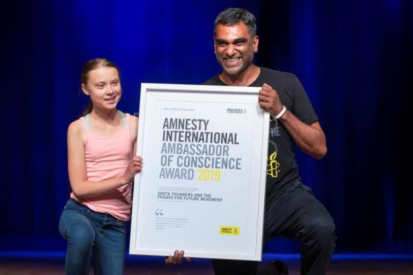 Teenage climate activist Greta Thunberg receives Amnesty International award
