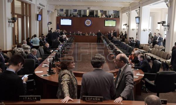A view of the Permanent Council of the Organization of American States (OAS) before a session on Venezuela, chaired by Honduras due to Bolivia's absence, in Washington DC, United States, April 3, 2017. EFE/Lenin Nolly