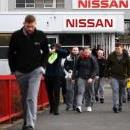 Nissan employees exit the Nissan motor plant in Sunderland, Britain, 13 February 2019. EPA-EFE/ANDY RAIN
