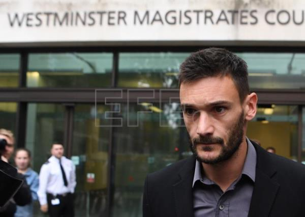 Tottenham Hotspur's and France's national goalkeeper Hugo Lloris attends Westminster Magistrates Court in London, Britain, Sept. 12, 2018. EPA-EFE/NEIL HALL
