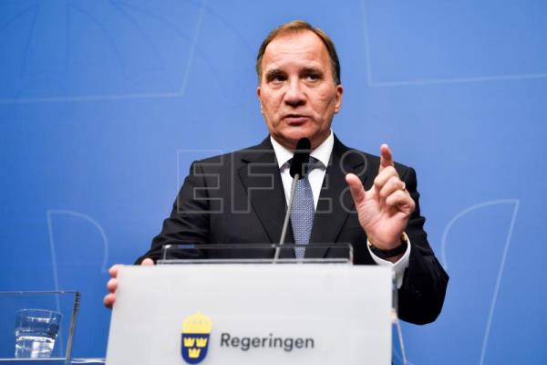 Prime minister and Social Democratic Party leader Stefan Lofven attends a press conference at the government headquarters Rosenbad in Stockholm, 12 September 2018. EPA/Henrik Montgomery/TT