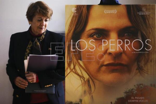 "Photograph showing Chilean Culture Minister Consuelo Valdes during the presentation of ""The Dogs"" as Chile's pick to contend for Best Film at Spain's Goya awards in Santiago, Chile, Sept 12, 2018. EPA-EFE/Alberto Peña"