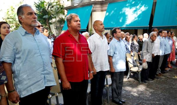 Rene Gonzalez (L), Ramon Labañino (2-L), Gerardo Hernandez (C-L) and Fernando Gonzalez (C-R), four of the 'Cuban Five', attend an event to mark the 20th anniversary of their arrest, Havana, Cuba, Sept. 12, 2018. EPA-EFE/Ernesto Mastrascusa