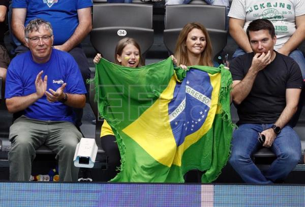 Brazilian fans celebrate during a Volleyball Men's World Championship Pool B match between Brazil and Egypt in Ruse, Bulgaria, 12 September 2018. EPA-EFE/ROBERT GHEMENT