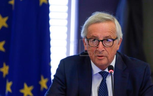 The President of the European Commission, Jean Claude Juncker, addresses European Commissionnaires at the beginning of a seminar of the European Commission in Genval, Belgium, Aug. 30, 2018. EPA-EFE FILE/ARIS OIKONOMOU