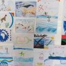Drawings by school children on exhibition alongside the Swiss flagged vessel Fleur de Passion docked in the Cape Town harbour, South Africa, 15 January 2019. EPA/NIC BOTHMA