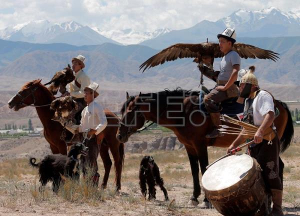 Performers take part in traditional Kyrgyzstan festival