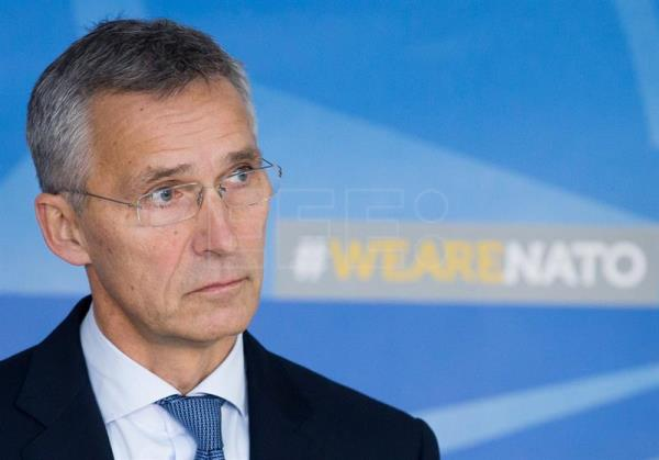 Jens Stoltenberg gives a press conference following a meeting of the NATO-Russia Council in Brussels, Belgium, Oct. 26, 2017. EPA-EFE/STEPHANIE LECOCQ