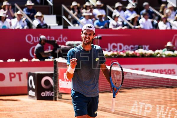 Joao Sousa of Portugal reacts during his semi final match against Greece's Stefanos Tsitsipas at the Estoril Open tennis tournament in Cascais, near Lisbon, Portugal. EFE/EPA