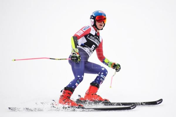 Mikaela Shiffrin of the USA reacts in the finish area during the second run of the women's Giant Slalom race at the FIS Alpine Skiing World Cup in Ofterschwang, Germany, 09 March 2018. EPA-EFE/DANIEL KOPATSCH