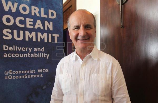 Photograph of Jose Maria Figueres, former president of Costa Rica (1994-1998) during the World Ocean Summit in Cancun, Mexico, Mar. 8, 2018. EPA-EFE/Alonso Cupul