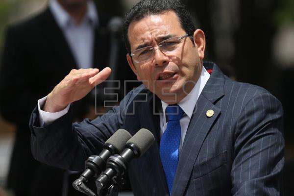 Guatemalan President Jimmy Morales gives a speech during the inauguration of the Plazuela Espana after remodeling in Guatemala City, Guatemala, 12 September 2017. EPA-EFE FILE/ESTEBAN BIBA