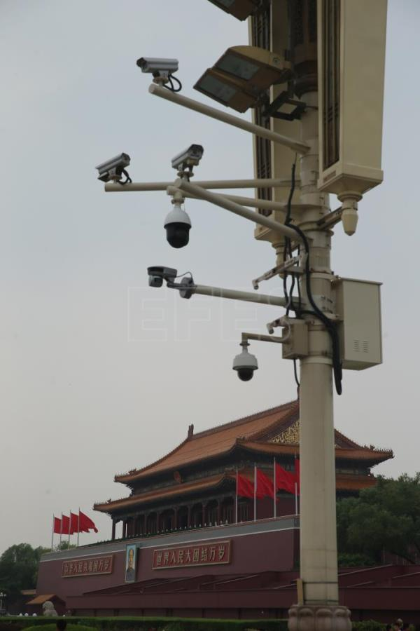 A view of CCTV cameras in front of Tiananmen Gate in Beijing, China, Jun 15, 2018. EPA-EFE FILE/WU HONG