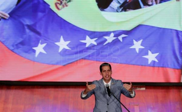 Venezuela's self-proclaimed interim president, Juan Guaido, speaks during an event in Caracas on Feb. 8, 2019, where he said that if the Nicolas Maduro government blocks food and medicines donated by other nations from entering the country, a volunteer force will head for the borders to open a humanitarian corridor. EFE-EPA/Leonardo Muñoz