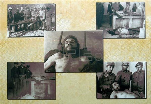 "Photographs of the death of guerrilla leader Ernesto ""Che"" Guevara on display at the museum in La Higuera, a village located 800 kilometers (nearly 500 miles) southeast of La Paz, Bolivia. EFE/File"