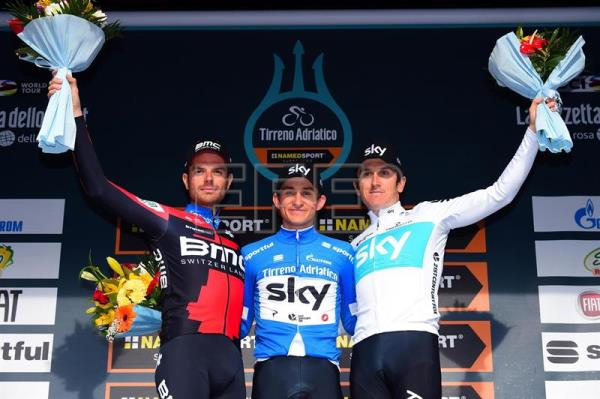 The overall winner, Polish cyclist Michal Kwiatkowski of Team Sky (C) flanked by second placed Italian Damiano Caruso (L) of Team BMC and third placed British cyclist Geraint Thomas of Team Sky, poses on the podium following the 7th and final stage of the Tirreno Adriatico 2018 cycling race, in San Benedetto del Tronto, Italy, March 13, 2018. EPA-EFE/DARIO BELINGHERI