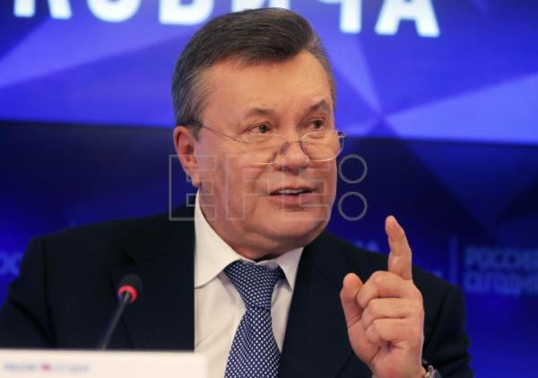 Former Ukrainian President Viktor Yanukovich speaks during a press conference in Moscow, Russia, 06 February 2019. EPA-EFE/SERGEI ILNITSKY
