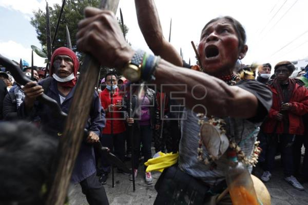 Amazon indigenous warriors join protests in Ecuador's capital