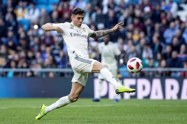 Real Madrid's defender Javi Sanchez scores the 3-0 goal during a Spanish King's Cup round of 32 second leg match between Real Madrid and Melilla at the Santiago Bernabeu stadium, in Madrid, Spain, Dec. 06, 2018. EFE-EPA/RODRIGO JIMENEZ