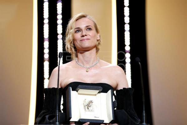 German actress Diane Kruger receives the Best Performance by an Actress award for 'Aus dem Nichts' (In the Fade) during the Closing Awards Ceremony of the 70th Cannes Film Festival, in Cannes, France, 28 May 2017. EFE