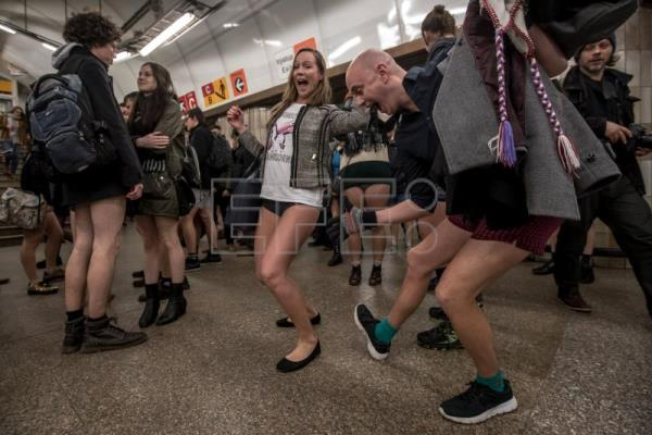 Young people wearing no pants participate in the 'No Pants Subway Ride' in Prague, Czech Republic, Jan. 7, 2018. EPA-EFE/MARTIN DIVISEK